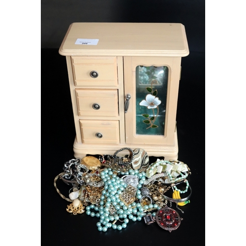 209 - Jewellery Box Containing A Mixed Lot Of Costume Jewellery...