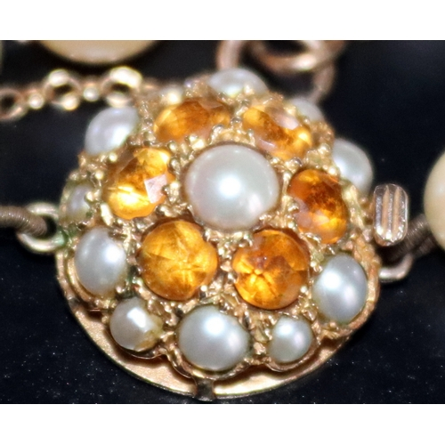 1 - Pearl Necklace With 9ct Gold Circular Clasp Set With Pearl Cabochons And Faceted Citrines , Fully Ha...