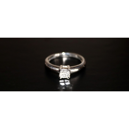 14 - Ladies Platinum And Diamond Ring, 4 Princess Cut Diamonds Set In A Square, Shank Stamped Plat950DI, ...