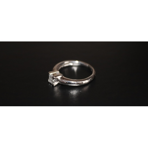 14 - Ladies Platinum And Diamond Ring, 4 Princess Cut Diamonds Set In A Square, Shank Stamped Plat950DI, ...