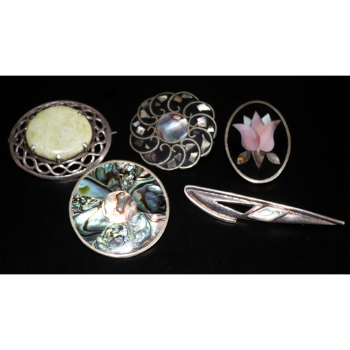 40 - Collection Of 5 Silver Brooches To Include Scottish Hardstone, Alpaca Mexico, Abalone, Mother Of Pea...