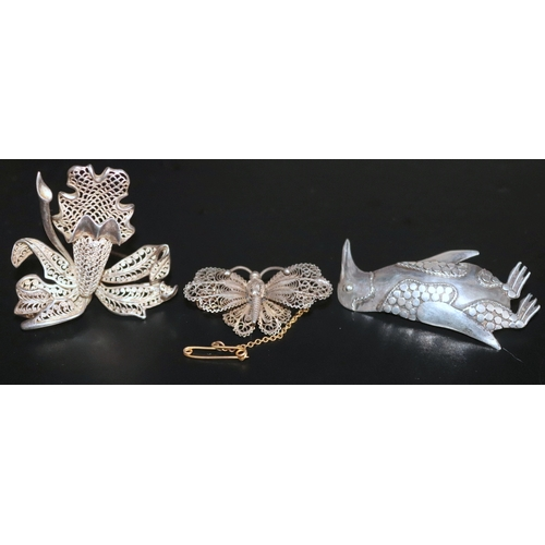 49 - 3 Silver Brooches Comprising A Continental Filigree Butterfly, A Large Filigree Orchid With Makers M...