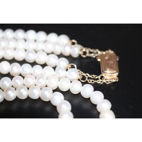 91 - Double Strand Pearl Necklace With 9ct Gold Clasp, 6mm Pearls, Length 16 Inches...