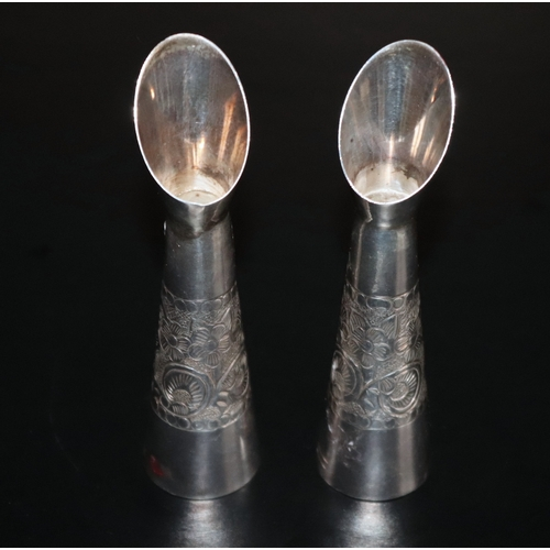 99 - Pair Of Silver Spill Vases, Floral Engraved Design, Stamped Sterling Silver, Height 10cm...