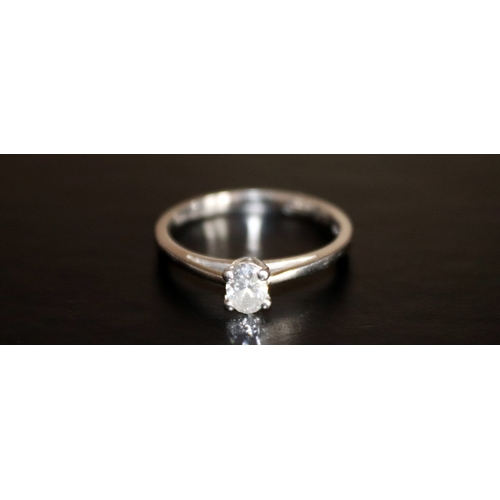138 - Platinum Diamond Solitaire Ring, Oval Cut Solitaire, .33 Carat, Fully Hallmarked, Commercial White V...