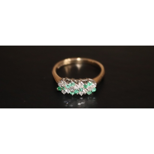 148 - Ladies 9ct Gold Diamond And Emerald Dress Ring, Ring Size J 1/2...