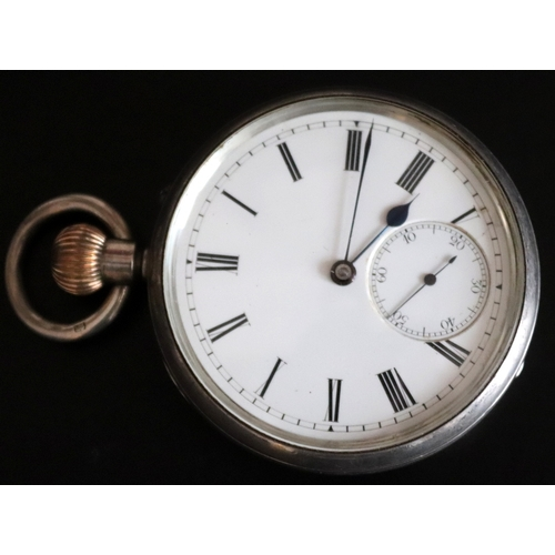 191 - Gents Silver Pocket Watch, White Enamel Dial, Roman Numerals, Subsidiary Seconds Dial, Case Fully Ha...