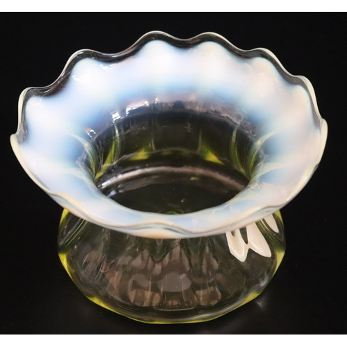 261 - James Powell Whitefriars Opalescent Vaseline Glass Bowl, Diameter 6 Inches, Height 3.5 Inches...