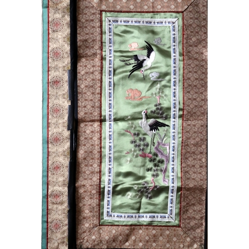 308 - Collection Of Four Chinese Silk Embroideries, 100 Boys, Floral, Birds & Crane Birds. Largest 25 x 13...