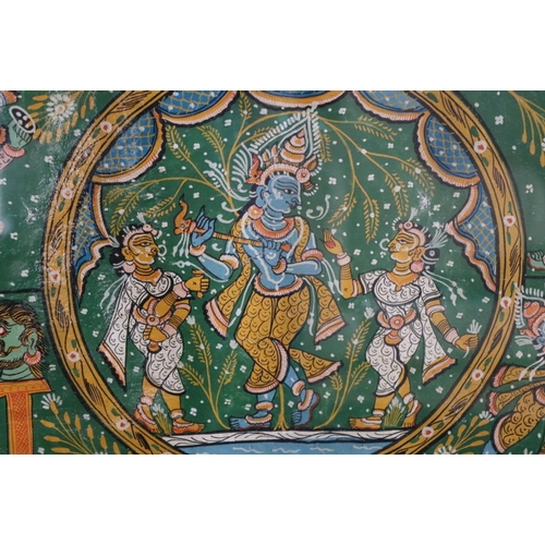 346 - Antique Oriental Oil Painting On Vellum, Depicting Male & Female Gods And Deities In Traditional For...