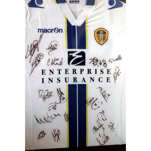 359 - Football Interest, Leeds United Signed Football Shirt, 2013-14 Season, Framed And Glazed, 27 x 39 In...