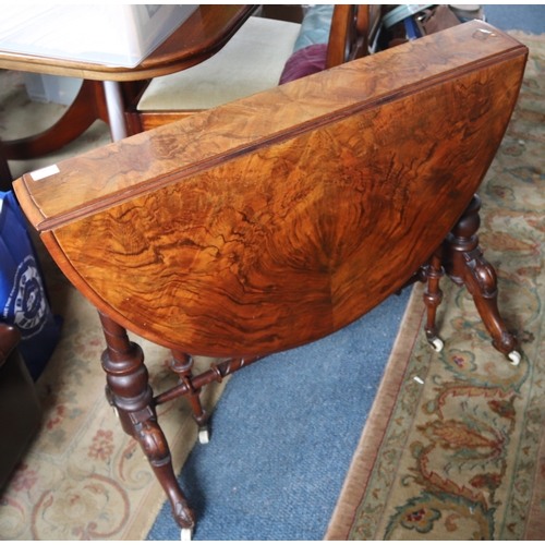412 - Victorian Walnut Sutherland Table, Shaped Oval Top Raised On Cabriole Legs, Top A/F Height 28 Inches...