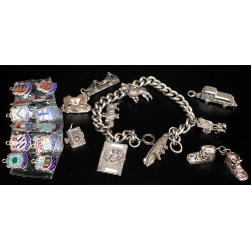 5 - Silver Charm Bracelet With Charms To Include Chim Hinged Ship, Passport, Rhino, Poodle, BOAC Hinged ...