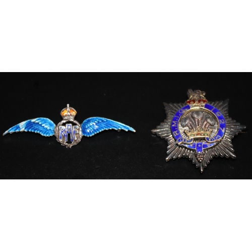 Two Silver And Enamel Pins/Brooches Comprising RAF Wings And