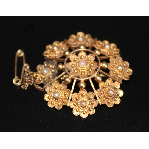 8 - Victorian 15ct Gold Starburst Design Brooch, Set With Seed Pearls, Stamped 15ct, 33mm Diameter, Appr...