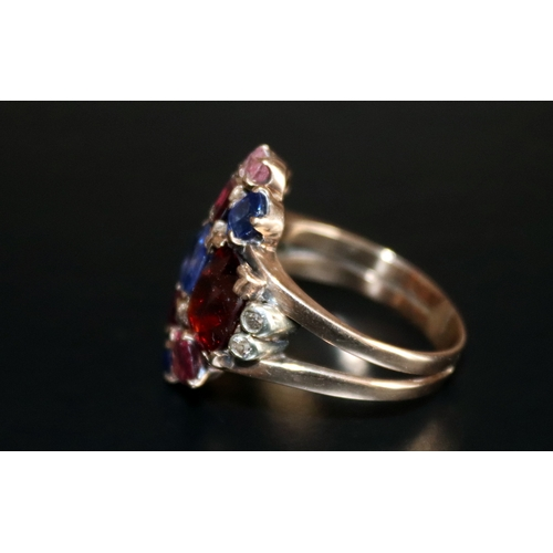 15 - Multi Gem Gold Cluster Ring, Set With Citrine, Garnet, Amethyst, Diamond Etc. Broad Band, Unmarked, ...