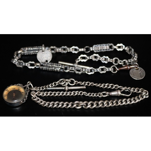 37 - Silver Graduating Albert Chain, Each Link, Clip & T Bar Stamped, Silver Encased Fully Hallmarked Com...