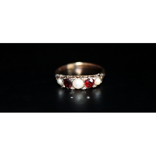 54 - 9ct Gold Ruby And Pearl Ring, Stamped 9ct Rubbed, Ring Size K, Weight 2.6g...