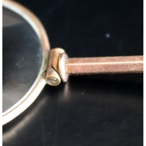 55 - Gold Magnifying Glass, Unmarked Tests High Carat, 89mm Long, Weight 11.5g, AF...