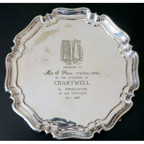 214 - Atkin Brothers Sheffield EPNS Plate, Presented To Mr S Price For Service Appreciation 1982...