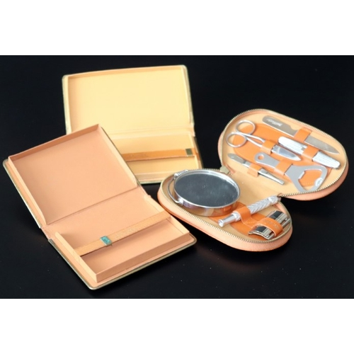 237 - Misc Lot To Include Gents Manicure/Shaving Set & Two Tan Leather Cigarette Cases. Unused c1950...