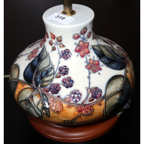 319 - Moorcroft Table Lamp, Onion shaped form, with painted blackberry and bramble pattern, Height 11 Inch...