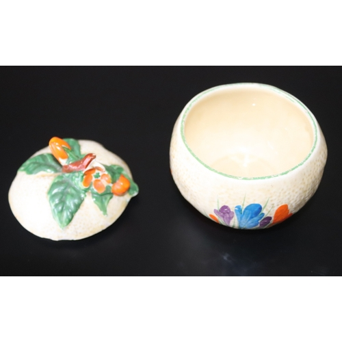 440 - Clarice Cliff Preserve Pot, Marked To Base Crocus Hand Painted, Bizarre By Clarice Cliff, Newport Po...