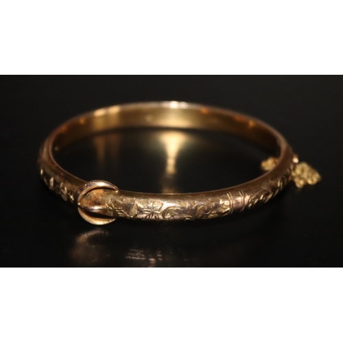17 - Victorian Yellow Metal Hinged Bangle, Engraved Front With Applied Buckle, Stamped T+H, Complete With...