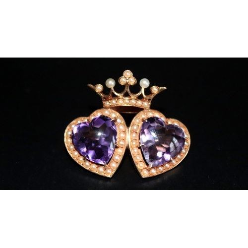 19 - 14ct Gold Brooch Formed As Two Hearts Below A Crown, Each Heart Set With A Cabochon Amethyst Surroun...