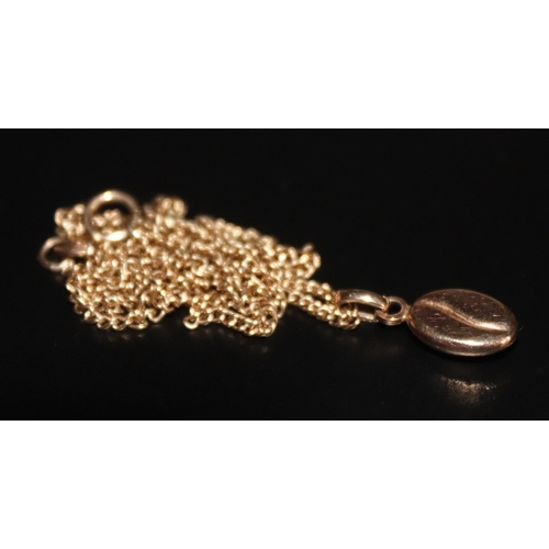 28 - 9ct Gold Coffee Bean Pendant On 9ct Gold Chain, Total Weight 3.8g...