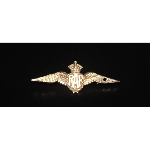 34 - RAF Sweetheart Brooch, Stamped 9ct Front, 44mm Length...