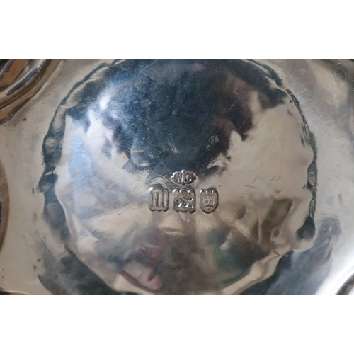 35 - William Comyns & Sons Sterling Silver Arts And Crafts Planished Bowl With planished finish, divided ...