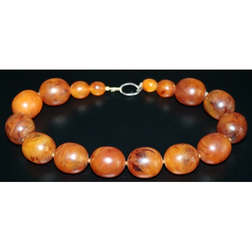 150 - Early 20thC Amber Coloured Bead Necklace...