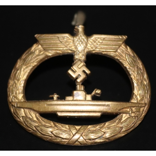 403 - Military Interest, German Period WWII Third Reich Military Award, U Boat Submarine War Badge, Pin Wi...