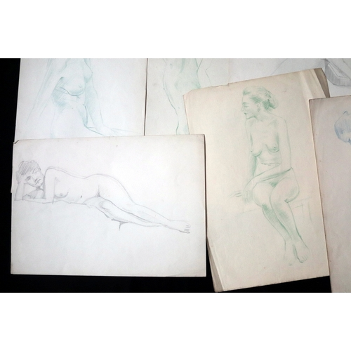328 - 16 Sketches Of Females Nudes, Mostly Pencil, Some Pen And Ink, 14 x 9.75 Inches...