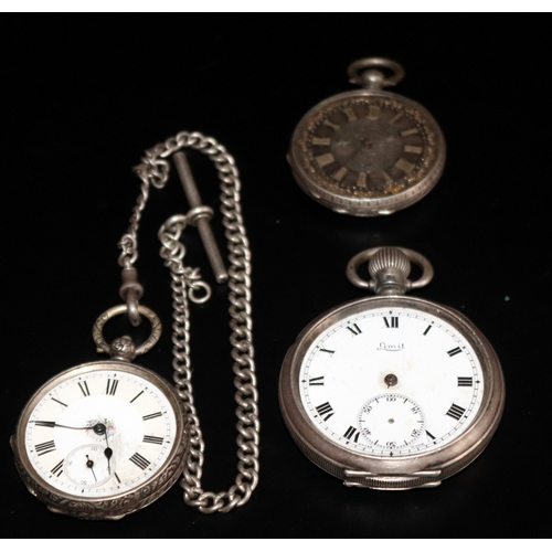 8 - Collection Of 3 Pocket Watches, All Silver Cased, One With Silver Albert Chain. All A/F...