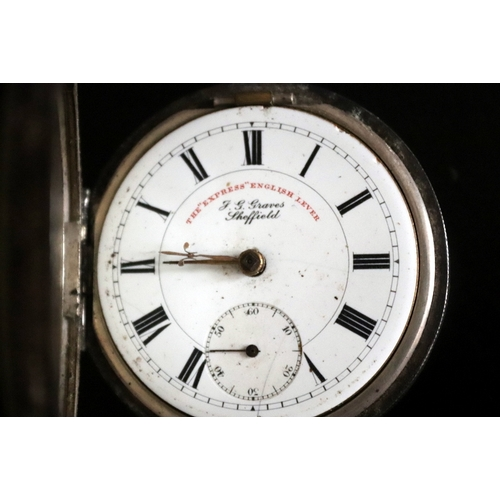 9 - Victorian Silver Open Faced Pocket Watch, White Porcelain Dial, Roman Numerals With Subsidiary Secon...