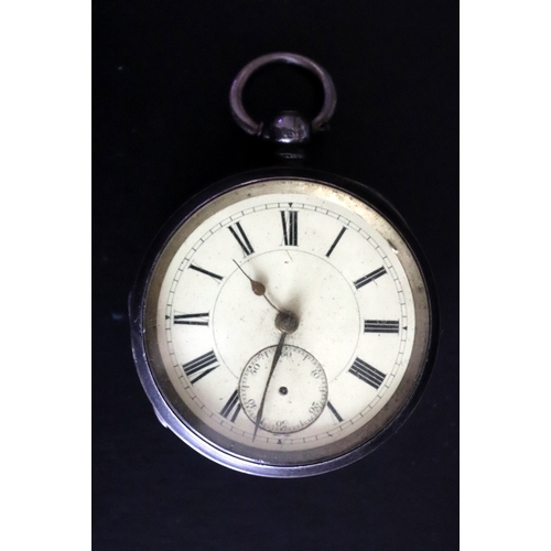 10 - Victorian Silver Open Faced Pocket Watch, White Enamelled Dial, Roman Numerals With Subsidiary Secon...