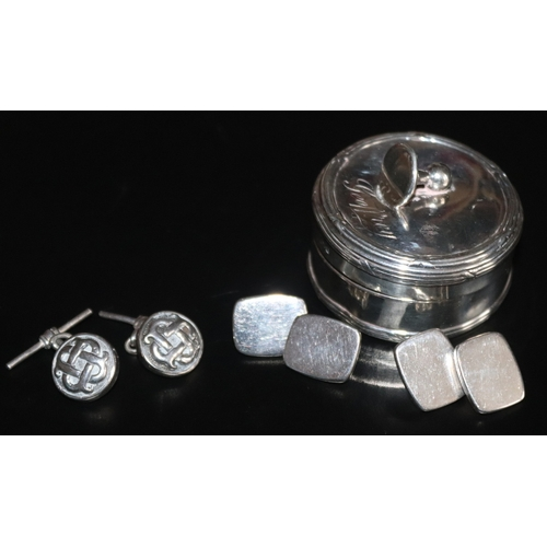 47 - Lidded Silver Cufflink Box With Cufflink Finial, Lid Engraved Geoffrey. Together With Two Pairs Of S...