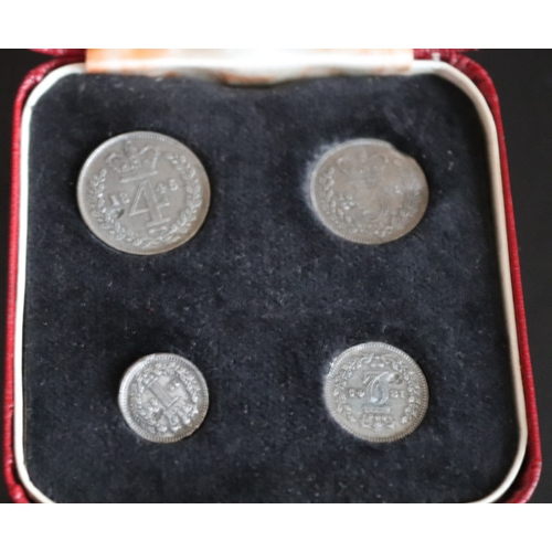 80 - Maundy Money, Silver Coin Set Dated 1845, See Image For  Coin Condition And Grade, Later Fitted Case...