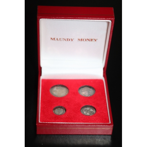 81 - Maundy Money, Silver Coin Set Dated 1901, See Image For  Coin Condition And Grade, Later Fitted Case...
