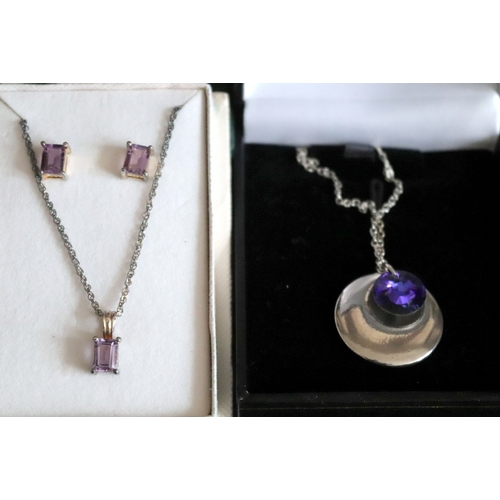 94 - Boxed Silver And Amethyst Pendant And Earring Set Together With A Boxed Circular Pendant...
