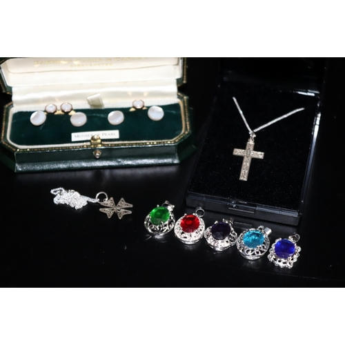 111 - Small Mixed Jewellery Lot Comprising, 2 Silver Crosses On Silver Chains,  5 Silver Pendants And A Bo...