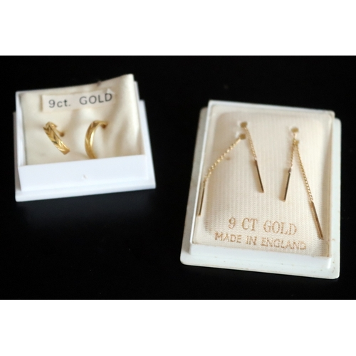 184 - 2 Pairs Of 9ct Gold Earrings Comprising Drop And Hoop Style...