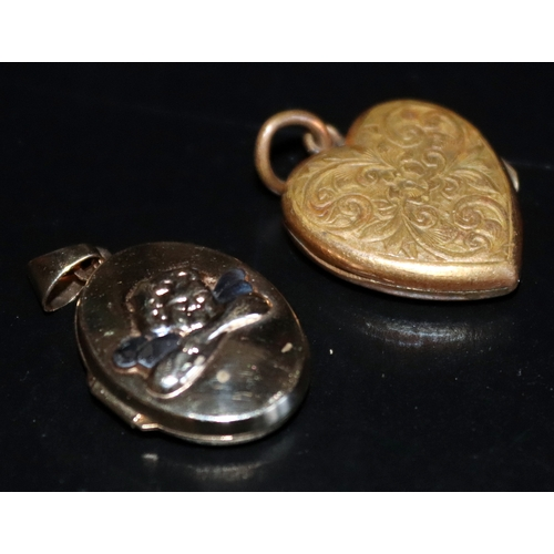 97 - 9ct Gold Oval Locket, Fully Hallmarked, Height Including Bale 28mm, Width 17mm, Together With An Ant...