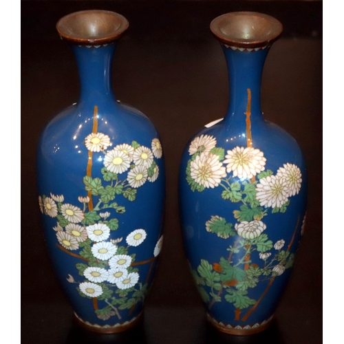 325 - Pair Of Oriental Cloisonne Vases, Decorated With Chrysanthemums On Blue Ground, Height 8.5 Inches A/...