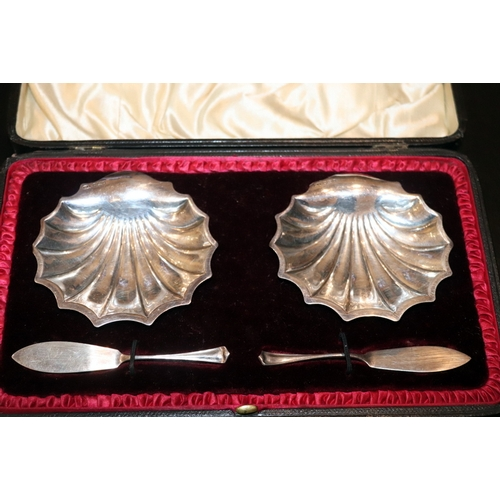 37 - Set of Two Antique Sterling Silver Shell Design Butter Dishes in Original Fitted Box, Fully Hallmark...