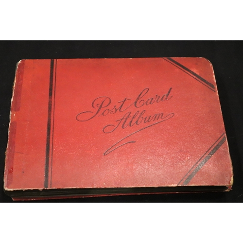 330 - Old Red Postcard Album Containing Approx 104 Postcards Mostly UK Topographical...