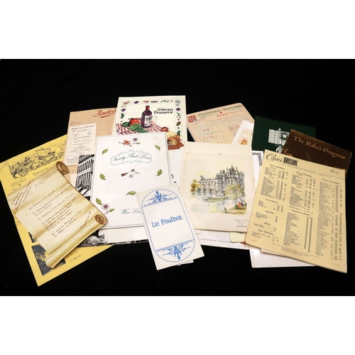 334 - Collection Of  Restaurant And Hotel Menus, London,  Paris, Air France, Canadian Pacific, USA Etc....