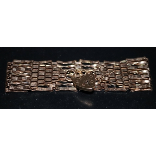 43 - 9ct Gold Gate Bracelet With Padlock Clasp, Fully Hallmarked, Weight 14.5g, Width 24mm...
